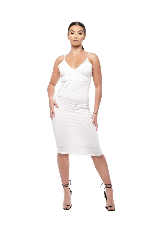 Kenza V-Neck Strappy White bodycon Dress