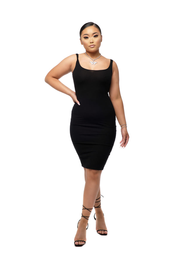 Nancy Ribbed Scoop Neck Bodycon Dress