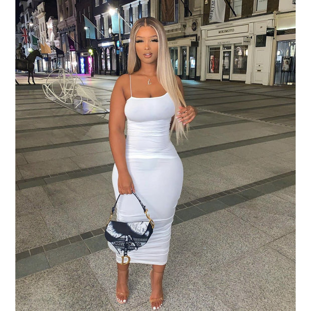 Sydney Sleek White Rouched Maxi Bodycon Dress