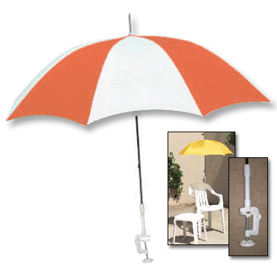 Clamp-On Red and White Umbrella