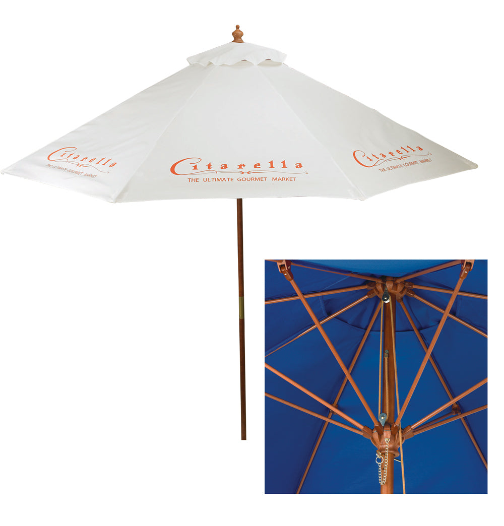 9' Wood & Fiberglass Market Umbrella