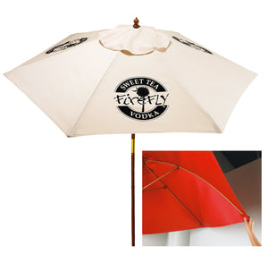 7' Wood & Fiberglass Market Umbrella