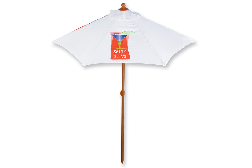 6' Wood Grain Aluminum Market Umbrella