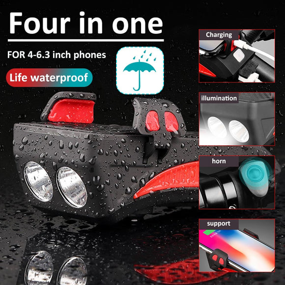 4 In 1 Rechargeable Bicycle Light flashlight Bike horn Handlebar Phone Holder