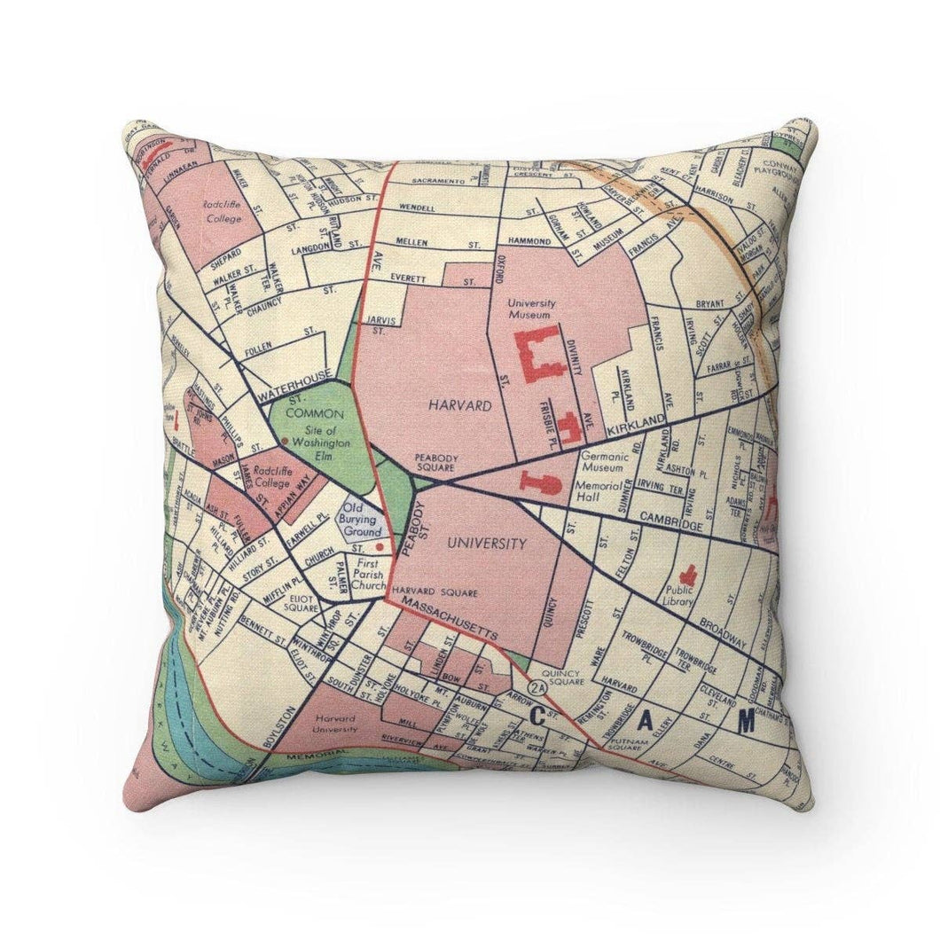 Harvard University Map Pillow