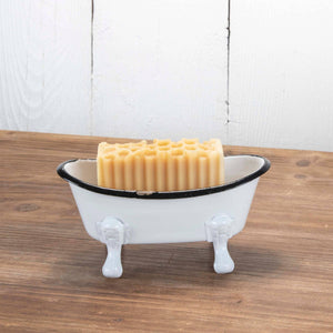 Black Rim White Enamel Bathtub Soap Dish