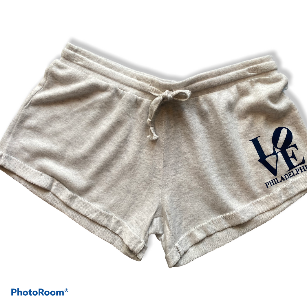 Heather Oatmeal 'Philly Love' Shorts by Vintage Havana (Exclusive to Serendipity)