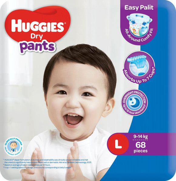 HUGGIES DRY PANTS SUPER JUMBO LARGE 68S