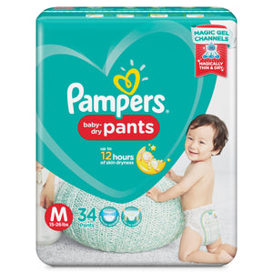 PAMPERS BABYDRY PANTS MED 34S