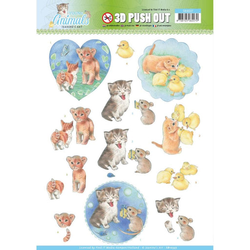 3D Diecut Decoupage Sheets SB10337. Young Animals.