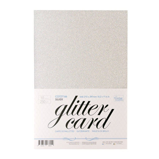 Couture Creations A4 Glitter Card Silver