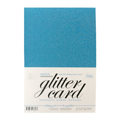 Couture Creations A4 Glitter Card Lagoon Blue