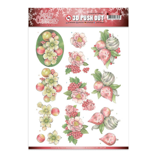 3D Diecut Decoupage Sheets SB10388. Ornaments Lovely Christmas