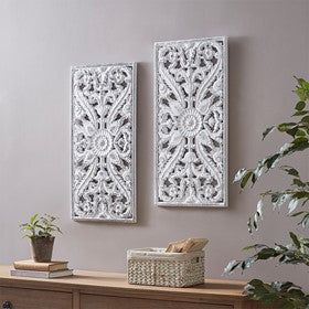 Botanical Wood Panel Carved Set