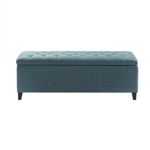 Shandra Blue Tufted Top Storage Bench