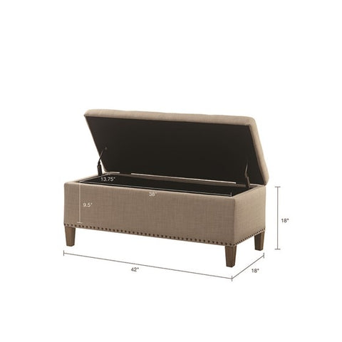Image of Shandra II Tufted Top Light Taupe Storage Bench
