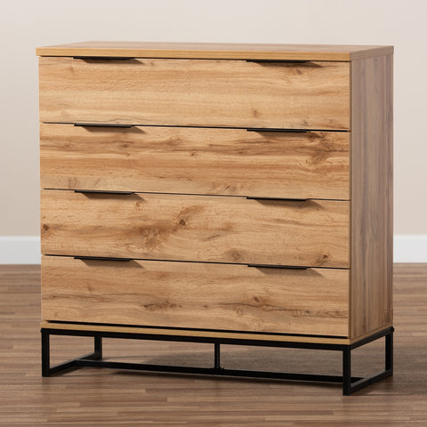 Image of 4-Drawer Baxton Studio Redi Modern Industrial Oak Finished Wood Dresser