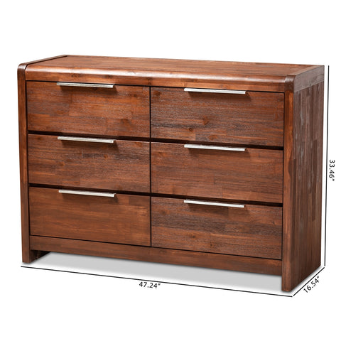 6-Drawer Baxton Studio Torres Modern Brown Oak Finished Wood Dresser