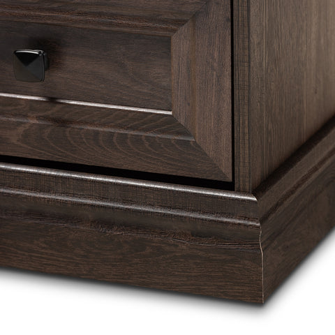 2-Drawer Transitional Hazel Walnut Brown Finished Wood Nightstand