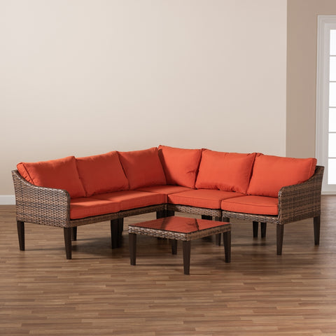 6-Piece Baxton Breida Rattan Outdoor Upholstered Orange Patio Set