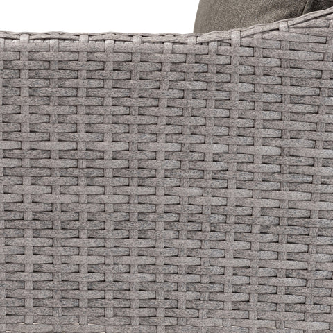 6-Piece Baxton Breida Rattan Outdoor Upholstered Dark Grey Patio Set