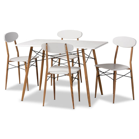 5-Piece Dining Set Baxton Wayne Modern White & Walnut (Almost Gone)