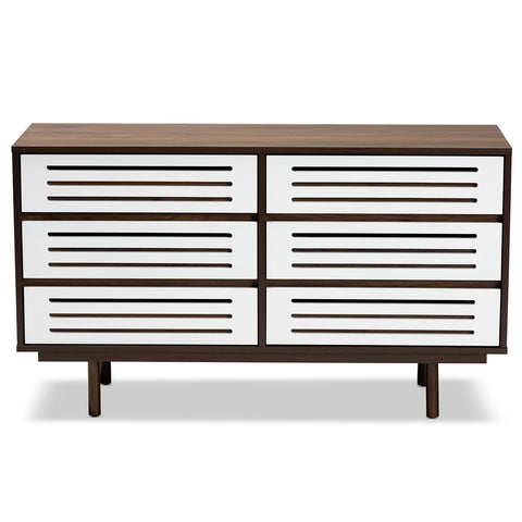 6-Drawer Baxton Meike Mid-Century Modern Walnut Brown Dresser