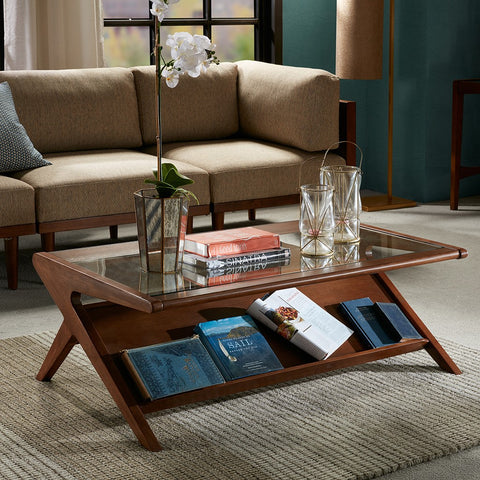 Image of Rocket Pecan Glass Coffee Table