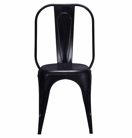 Image of Tolix Style Dining Chair Black - Iron - Reproduction