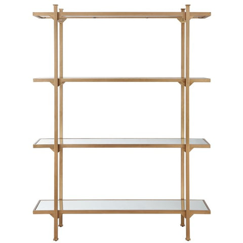 Adelaide 4-Shelf Antique Gold Bookcase