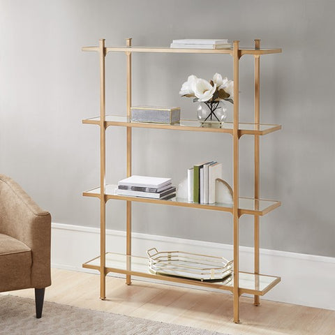 Image of Adelaide 4-Shelf Antique Gold Bookcase