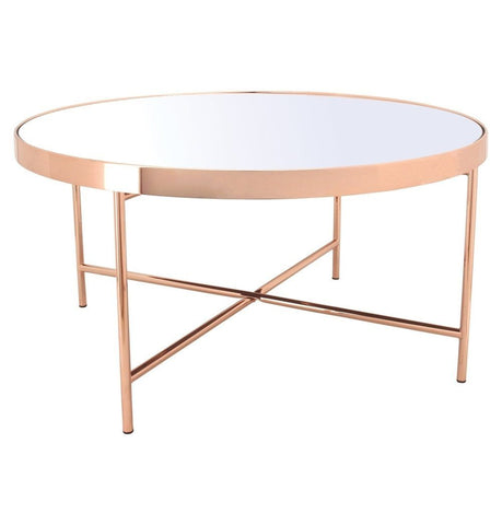 Image of Xander - Copper Coffee Table with Mirror Top - Big