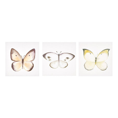 Vintage Butterfly Hand Embellished Canvas Set
