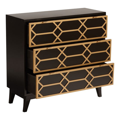 Maria Gold Lattice 3-Drawer Black Gold Accent Chest