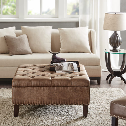 Image of Lindsey Tufted Square Brown Cocktail Ottoman
