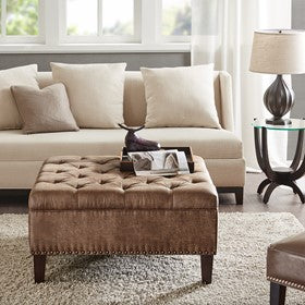 Lindsey Tufted Brown Square Cocktail Ottoman