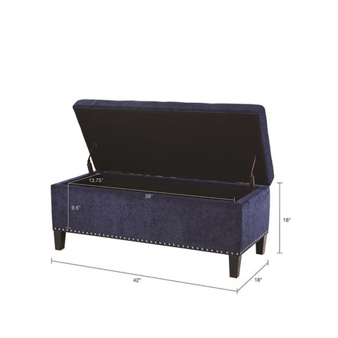 Shandra II Tufted Top Blue Storage Bench