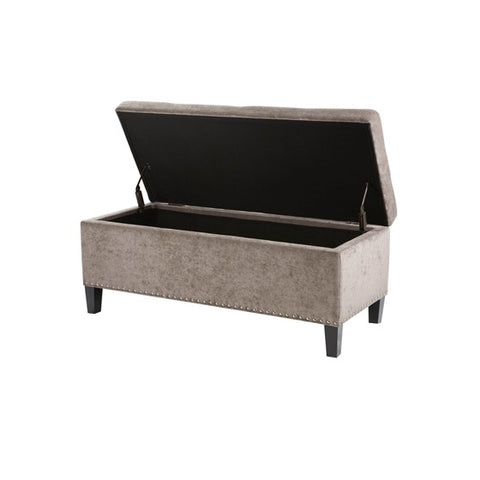 Shandra II Tufted Top Taupe Storage Bench