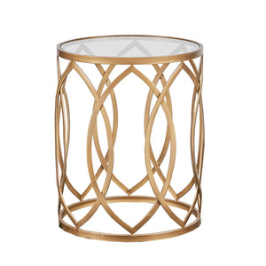 Arlo Metal Eyelet Gold Accent Table