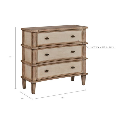 Image of Alcott 3 Drawer Natural Cream Chest