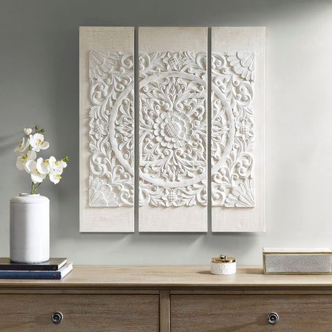 Image of White Mandala Embellished Canvas