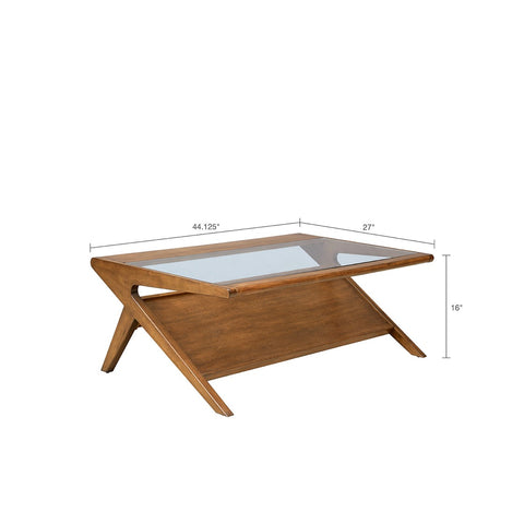 Rocket Pecan Glass Coffee Table