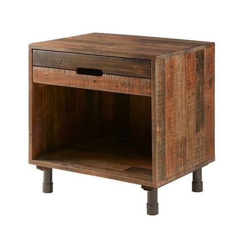Renu Solid Light Brown Wood Nightstand