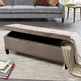 Image of Shandra II Tufted Top Taupe Storage Bench