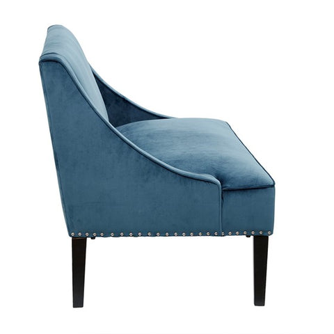 Avalon Swoop Arm Blue Settee (Almost Gone)