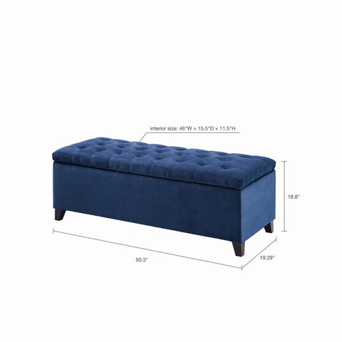 Image of Shandra Navy Tufted Top Storage Bench