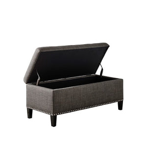 Shandra II Tufted Top Charcoal Storage Bench