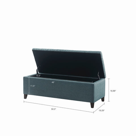 Image of Shandra Blue Tufted Top Storage Bench
