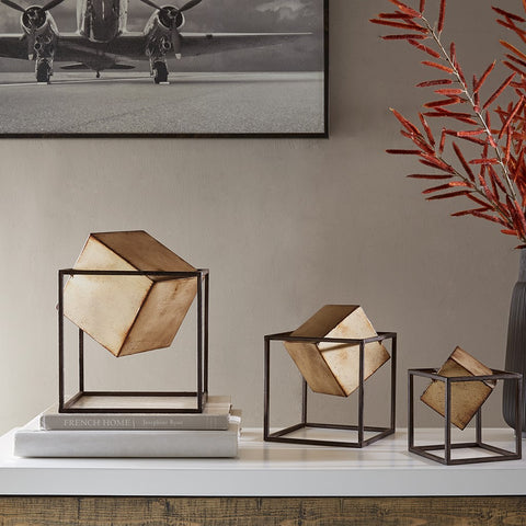 Madison Park Quad Gold 3 Cube Decor Set