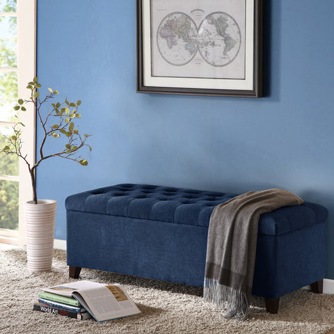 Image of Shandra Grey Tufted Top Storage Bench
